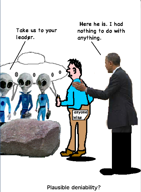 President Obama confronts space aliens.